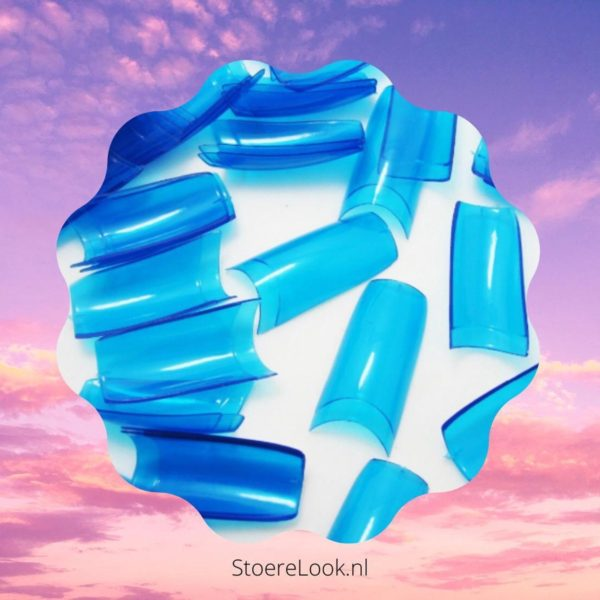 ✔️ Blauwe Nagel Tips - Kort Opzetstukje - Blauw Doorzichtig Transparant - 500 stuks - Acrylnagels - Gelnagels