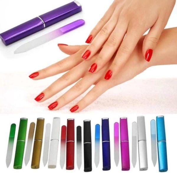 1 Glazen Nagelvijl - Kleur Zwart Met Beschermhoes - Nagelverzorging