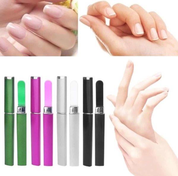 1 Luxe Glazen Nagelvijl - Kleur Grijs Met Beschermhoes - Nagelverzorging