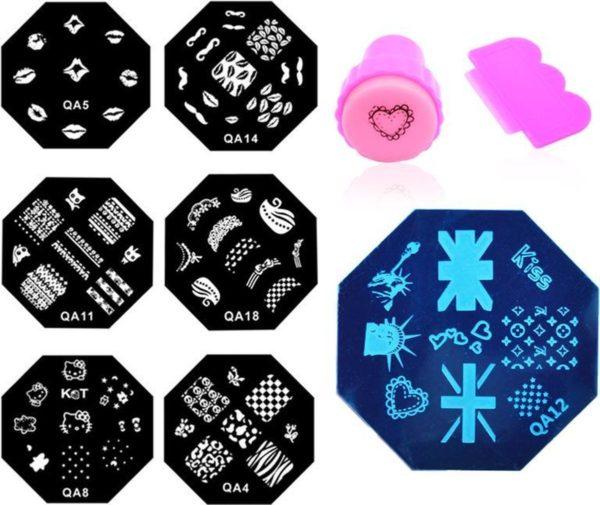 10- Delige Nagel Stempel Set Met Plaatje - Nail Art Stempelplaat & Sjablonen