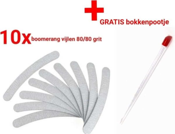 10 stuks - Nagel Vijlen - 80 / 80 GRIT - Kunstnagels - boomerang Vijl - banaan - High Quality - Professionele markt - gellak - shellac - nagels - nagelverzorging - acrylnagels - gelnagels