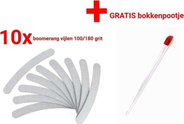 10x Nagel Vijlen - 100 / 180 GRIT - Kunstnagels - boomerang Vijl - banaan - High Quality - Professionele markt - gellak - shellac - nagels - nagelverzorging - acrylnagels - gelnagels