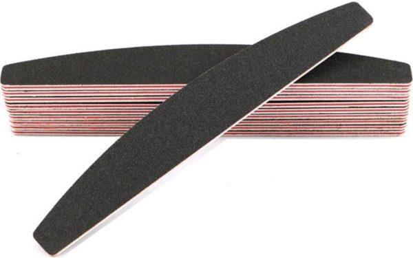10x Professionele Zwarte Halfmoon EVA nagelvijlen   100/180 Grit Met Rode Kern   Professionele Nagelvijl Set van 10 stuks Voor Acryl En Gelnagels   Manicure En Nagelverzorging