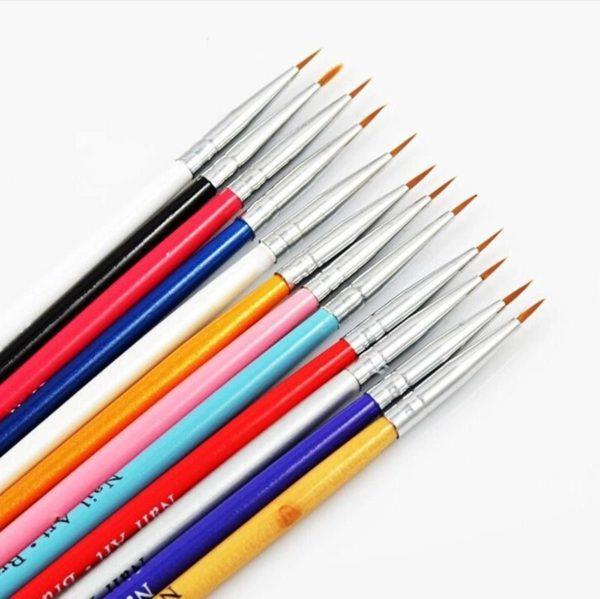 12-Delige Nail Art Penselen Set - Kwastjes Voor Gelnagels / Acrylnagels
