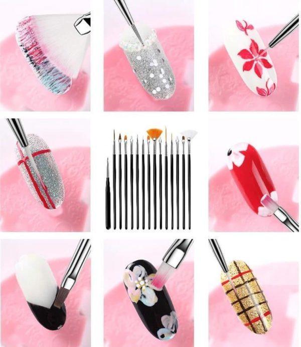 15 delig set zwarte Nail Art penselen - Professional Nail Brushes - Nagel art penselen- Nail Art tool voor Gel en Acryl Nagels