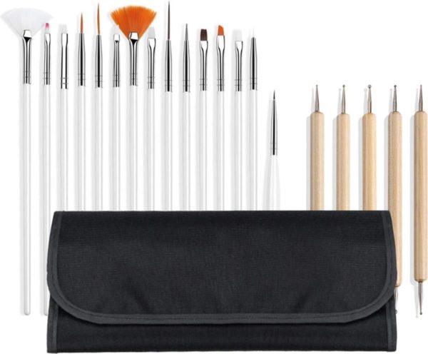 20-delige set Evvie nailart penselen set - in etui - zwart
