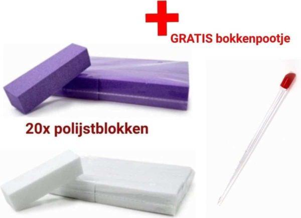 20 x polijstblok - paars - wit - Nail Buffer - Buffing Block - Nagelvijl - shellac- gellak - acrylnagels - gelnagels - nagelverzorging - vijl - vijlen - bufferblok - buffervijl