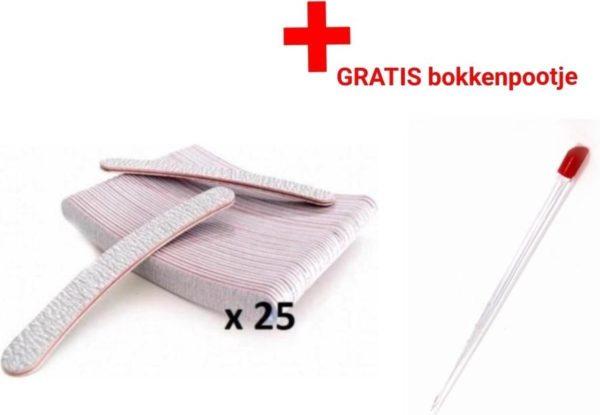 25 stuks - Nagel Vijlen - 100 / 180 GRIT - Kunstnagels - boomerang Vijl - banaan - High Quality - Professionele markt - gellak - shellac - nagels - nagelverzorging - acrylnagels - gelnagels