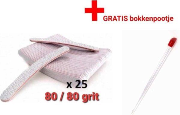 25 stuks - Nagel Vijlen - 80 / 80 GRIT - Kunstnagels - boomerang Vijl - banaan - High Quality - Professionele markt - gellak - shellac - nagels - nagelverzorging - acrylnagels - gelnagels