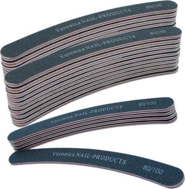 25x boomerang nagelvijl # 80/100, zwart voor nagelbranche. Afvijlen / afwerken / verwijderen van de kunstnagel. Zowel voor acryl