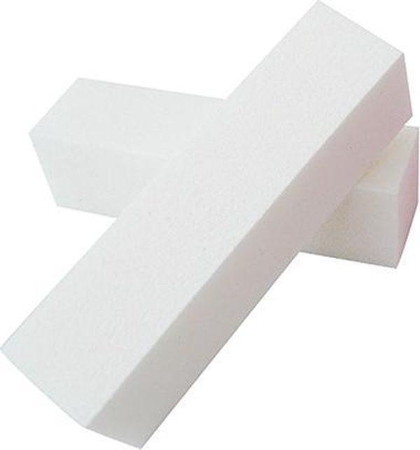 2x nagelblok / bufferblok / witte blok, wit. Voor opruwen / ontvetten natuurlijke nagel t.b.v. kunstnagels.