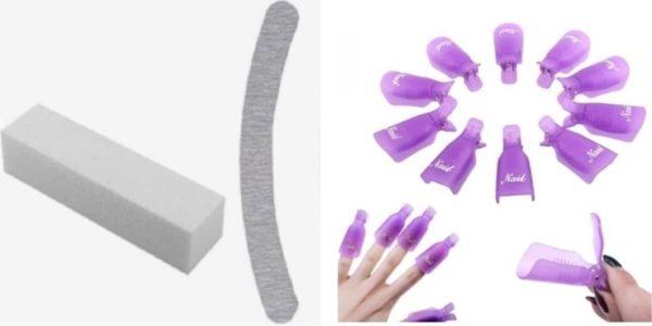 3 delige set - vijl 100/180 grit - blokvijl - polijstblok - Nagellak - Gelnagellak- Gellak - Remover -Vinger -Nagel - Clips - klemmetjes - Verwijderen -Shellac - Soak Off - Nailclips - Acryl - Gel - Nagels & Nagellak Remover - knijper Set