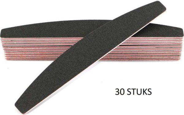 30x Professionele Zwarte Halfmoon EVA nagelvijlen   100/180 Grit Met Rode Kern   Professionele Nagelvijl Set van 30 stuks Voor Acryl En Gelnagels   Manicure En Nagelverzorging