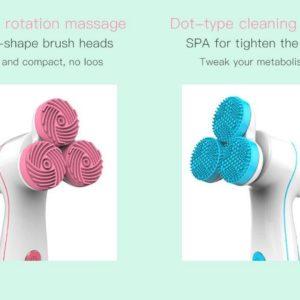 3D smart massageborstel - Aloe Vera Gel - 3 afneembare opzetstukjes borstel - 3 standen - Waterproof - Diep en zacht reinigend - Gezichtsmassage - Gezicht liftend - USB Oplaadbaar - Roze