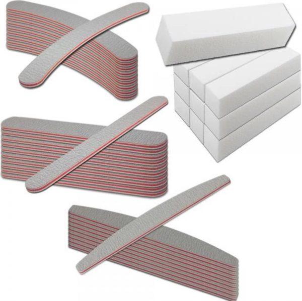 40 stuks Nagel Vijlenset - boomerang vijl 100/100 - bufferblok - polijstblok- rechte vijl 100/180- banaan - laag geprijsd - Profi kwaliteit - gelnagels -gellak - acrylnagels - nagelverzorging - manicure - pedicure
