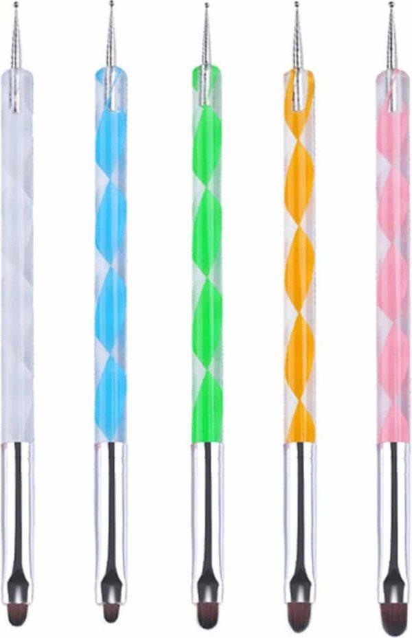 5-delige set Evvie nailart penselen - gekleurd