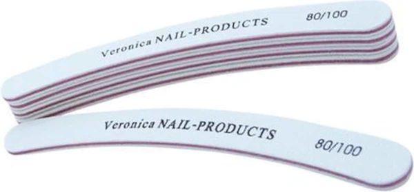5x boemerang / boomerang nagelvijl #80/100, wit. Kromme nagelvijl voor het vijlen en vormgeven van acryl nagels, gel nagels.