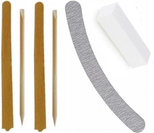 6 delige set -cuticle pusher - wood sticks - vijl - manicure - pedicure - nagels - bufferblok - nagelriemen - vijl - nagelverzorging - gellak - shellac - gelpolish - acryl - gel - verzorging - verwijderen - vijlen - houten - nail - bokkepoot -polijst