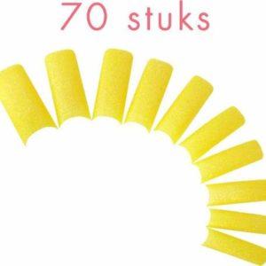 70 GLITTER nagel tips in een nagel box, GEEL.
