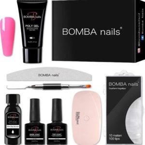 8-Delige Polygel Nagellak Set - Gellak Starterspakket - Incl. UV Lamp Gelnagels - Topcoat Basecoat - Nageltips - Giftset Vrouw - Cadeau - Kleur Hot Pink