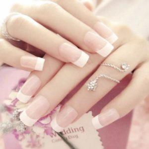 Acryl French Manicure Wit Plaknagels / Nageltips 24 stuks - Plaknagels Nepnagels met lijm - Nail Art Plaknagels Tips Acrylnagels & Gelnagels - Nepnagels Set