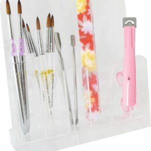 Acryl houder voor nagel gereedschap / instrumenten: nagelvijlen, nagel penselen, tip knipper, bokkepoot, nagel schaartje, nail art pennen, 6-vaks.