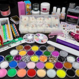 Acrylnagels Starters Pakket B+ incl. Elektrische Nagelfreesmachine | 77 delig | 46 Colors | Acryl Nagels set | Acryl Starter Kit | Nail Art | 500 Franse Nageltips | Manicure Set voor Nail Art Kit | Nagel Decoratie | Acryl Poeder