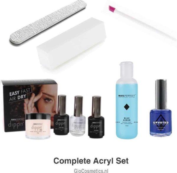 Acrylset compleet - Nagel set Acrylic + Blue Scrub + Nagelriem olie + Blokvijl + Nagelvijl + Bokkenpootje - Dippn Systeem kunstnagels