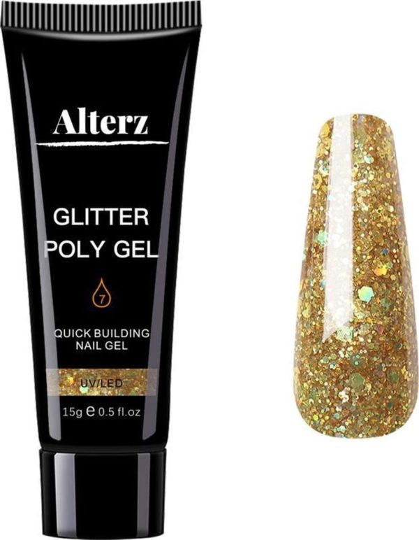 Alterz Polygel Glitter Gold - Polygel nagels - Polygel kleuren - Glitter - 15ml