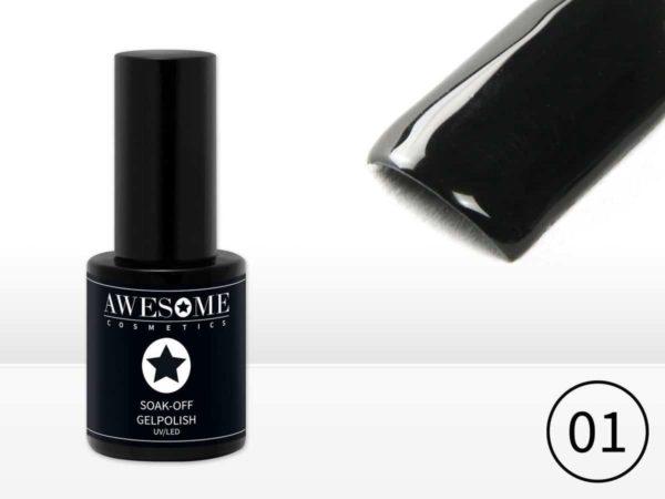 Awesome #01 Zwart Gelpolish - Gellak - Gel nagellak - UV & LED