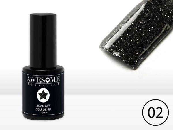 Awesome #02 Zwart met fijne glitter Gelpolish - Gellak - Gel nagellak - UV & LED