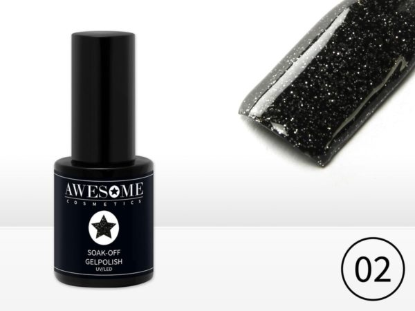 Awesome #02 Zwart met fijne glitter Gelpolish - Gellak - Gel nagellak - UV & LED