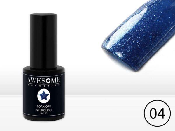 Awesome #04 Blauw met fijne glitter Gelpolish - Gellak - Gel nagellak - UV & LED