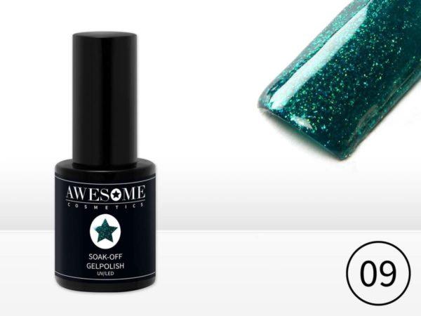 Awesome #09 Groen met fijne glitter Gelpolish - Gellak - Gel nagellak - UV & LED