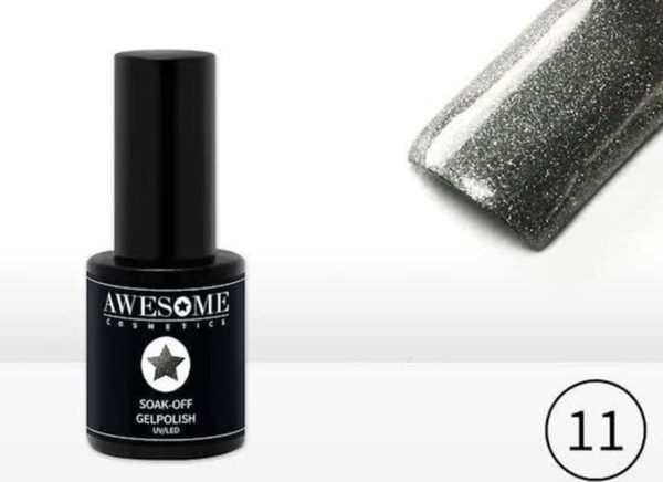 Awesome #11 Grijs met fijne glitter Gelpolish - Gellak - Gel nagellak - UV & LED