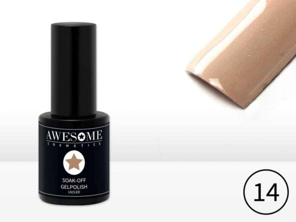 Awesome #14 Nude met heel fijne subtiele glitter Gelpolish - Gellak - Gel nagellak - UV & LED