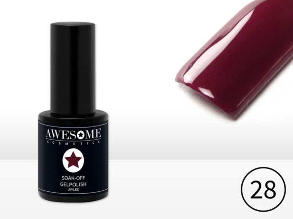 Awesome #28 Bordeaux Rood Gelpolish - Gellak - Gel nagellak - UV & LED
