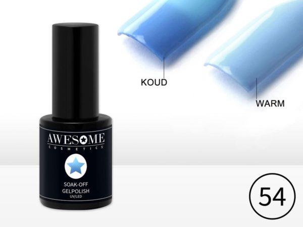 Awesome #54 Thermo Gelpolish Blauw - Baby Blauw - Thermo Gellak - Thermo Gel nagellak - UV & LED