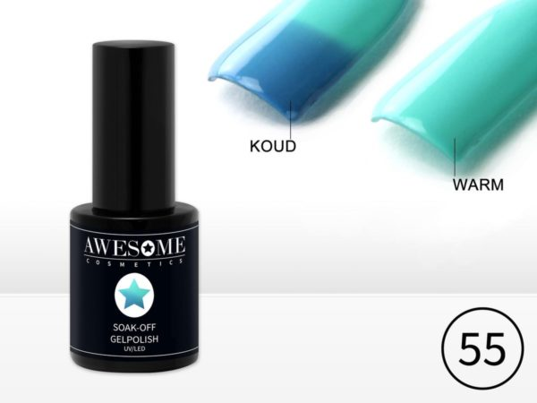 Awesome #55 Thermo Gelpolish Blauw - Mint Groen - Thermo Gellak - Thermo Gel nagellak - UV & LED