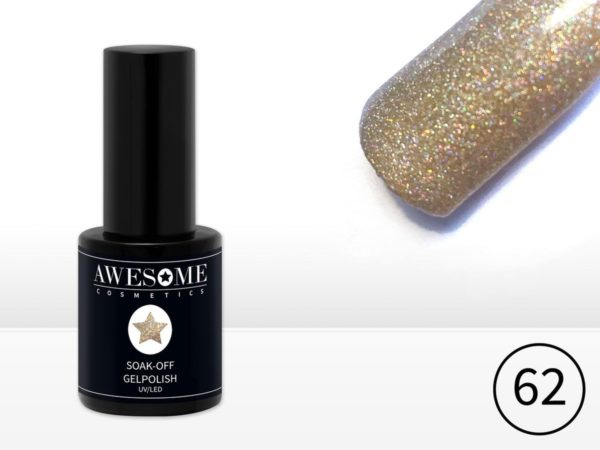 Awesome #62 Champagne Multi glitter Gelpolish - Gellak - Gel nagellak - UV & LED