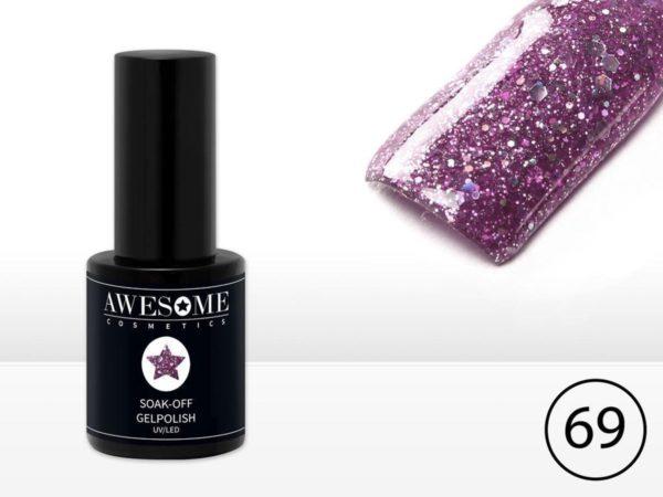 Awesome #68 Paars met Glitter Gelpolish - Gellak - Gel nagellak - UV & LED