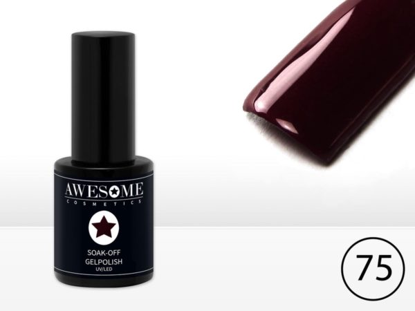 Awesome #75 Donker Bordeaux- Rood Gelpolish - Gellak - Gel nagellak - UV & LED