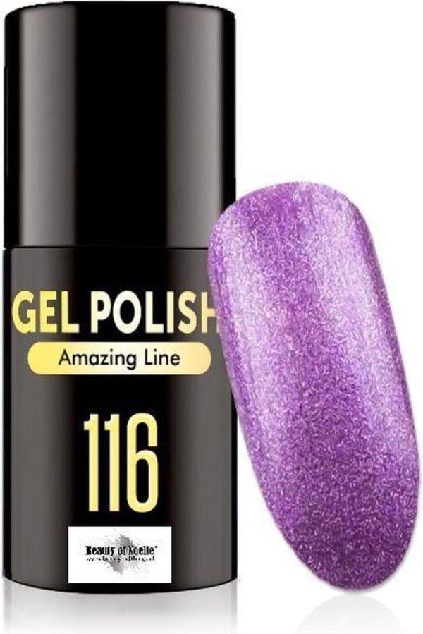 Beauty of Noelle© Top-Line Gellak 116 purple glitter 5ml - gel nagels - acrylnagels - nep nagels - manicure