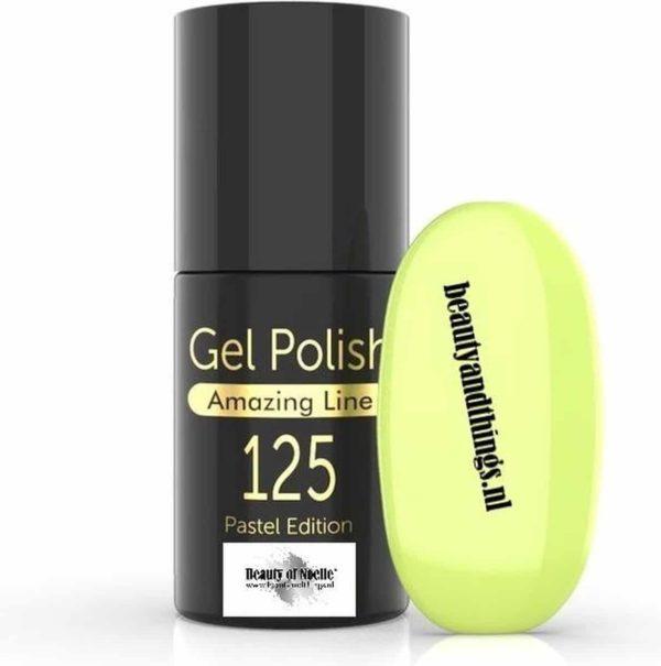 Beauty of Noelle© Top-Line Gellak 125 lemon with a drop off green 5ml - gel nagels - acrylnagels - nep nagels - manicure