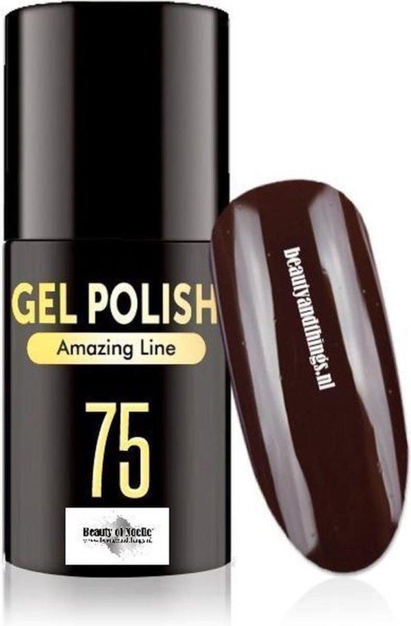 Beauty of Noelle© Top-Line Gellak 75 dark chocolate 5ml - gel nagels - acrylnagels - nep nagels - manicure
