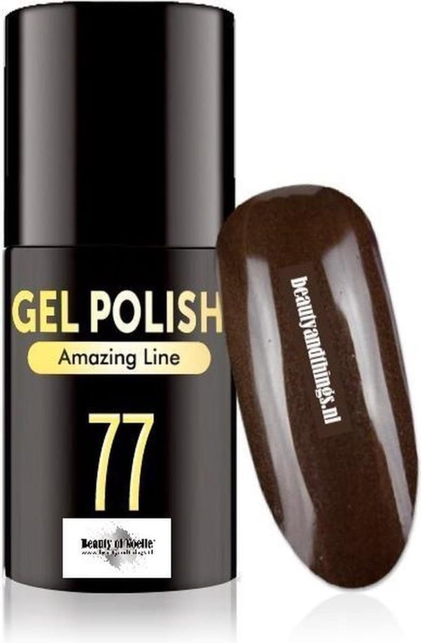 Beauty of Noelle© Top-Line Gellak 77 hickory brown smart glitter 5ml - gel nagels - acrylnagels - nep nagels - manicure