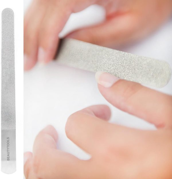 BeautyTools Lange Manicure/Pedicure Nagelvijl met Fijne Korrel - Metaal Diamantvijl - Langwerpig 20 cm (NF-2052)