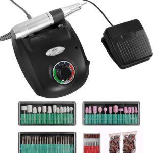 Beautylush Elektrische Nagelfrees Set 65W. Inclusief Schuurkapjes Wit.