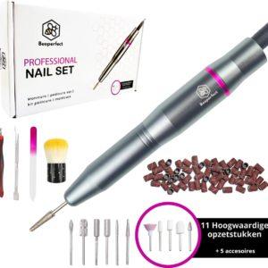 Beeperfect Elektrische Nagelvijl - Nagelfrees - 11 bitjes en 66 Schuurrolletjes - 4 Gratis accessoires