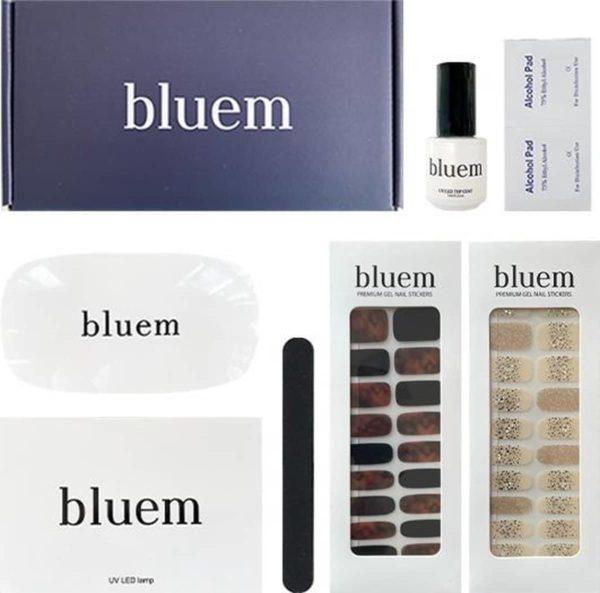 Bluem Starterbox Gel Nagellakset - Gel topcoat - Nagelsticker set - Nagelvijl - Alcohol pads - UV/LED nagel lamp - Nagellak set